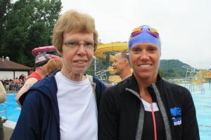 My mom and grandma before the race began